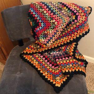Vintage Boho Crochet Afghan Lap Blanket